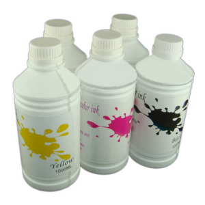 Sublimation ink, individual bottles.